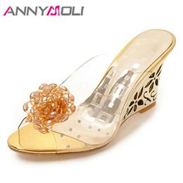 cales d'été en or Promotion ANNYMOLI Femmes Chaussures Été Sandales Fleur Transparent Pantoufles Talons Compensés Perles Mules Chaussures Dames Or Grande Taille 34-43