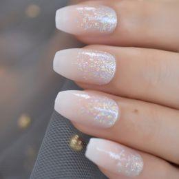 Rosa glitzer nagelspitzen online-Holo Glitter Pink Nude Französisch Ballerina Sarg False Nails Gradient Natural Press auf künstlichen Nägeln Tipps Daily Office Finger Wear