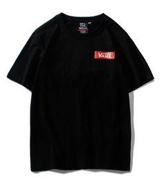 Canada 2019 Nouvelle arrivée tee noir van hommes femmes boîte aux lettres logo imprimé planche à roulettes T-shirt à manches courtes O-cou T-Shirt en gros S-XXL cheap black letter print t shirt Offre