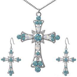 Nueva moda Plata Oro Rosa Oro Retro Collares Pendientes Conjuntos de joyería para mujeres Regalos nupciales Vintage Indian Crystal Jewelry Set desde fabricantes