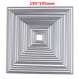195 * 195mm 17 Pz / set Piazza Die Craft Metallo Taglio Muore Scrapbooking Card Making 3D Timbro FAI DA TE Scrapbook Photo Frame Decor cheap photo squares da foto quadrati fornitori