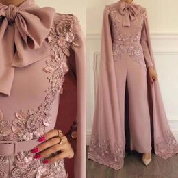 Zuhair murad elegantes vestidos de noche online-Nude Pink Muslim Jumpsuit with long wrap Evening Dresses Beaded High Neck Long Sleeves Elegant Prom Party Gowns Zuhair Murad Celebrity Dress