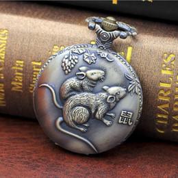 2019 gráfico vintage 12 Zodíaco Bronze Relógio De Bolso Antique 12 Zodíaco Wall Chart Vintage Esterilizado Carving Animal Quartz Watch