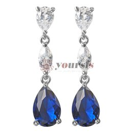 Blauer saphir baumeln ohrringe online-Yoursfs Sapphire Chandelier Earrings for Fashion Lady Crystal Bridal Earrings Teardrop Shaped Dangle Blue Wedding Jewelry