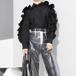 Camisa coreana on-line-New 2019 Korean Style Women Stylish Black Blouse Shirt Long Sleeve With Ruffles Girls Cute Wear Blouse chemise femme blusas F726