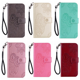cute owl wallets Promo Codes - Owl Leather Wallet Case For Samsung Note 10 Pro A80 A60 A20E S10 5G Huawei P Smart Z Imprint ID Card Slot Flower Lace Cute Flip Cover Strap