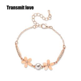 produktblume Rabatt Liebe übertragen Neues Produkt Mode Blume Nachahmung Perlen Zirkonia Farbe Gold Armband für Frau Valentine Schmuck Geschenke