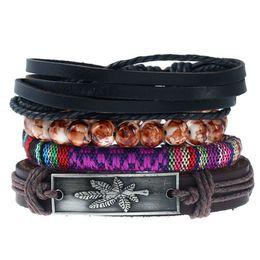 2019 кожаный браслет клена 20 стилей мода старинные кленовый лист женщины кожаные браслеты кожа веревка ткать браслет веревка цепь регулируемая геометрическая pksp4-5 дешево кожаный браслет клена
