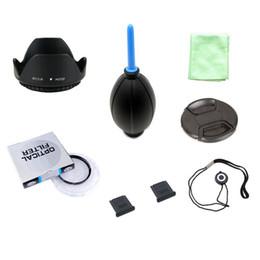 md plastico Rebajas 8 in1 49 52 55 58 62 67 72 77 82 mm UV lente de filtro + cap línea de cubierta + tapa de la lente capó 2 zapata tela de soplado de aire