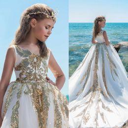 Lentejuelas Brillantes Apliques Vestidos Para Niñas Vestidos Blancos Y Dorados De Tren Largo Para Niñas De Flores Para La Boda Vestido De Fiesta De