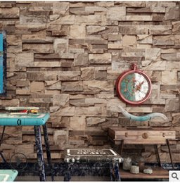 3d современный ресторан обои Скидка Vintage 3D Brick Textured Wallpaper Modern Design Non Woven Wallpapers Restaurant Bar Decoration Living Room TV Background Wallpaper