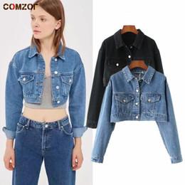 donna jeans top lungo Sconti Autunno Nuove donne giacca di jeans manica lunga crop top cappotti donna corto jeans giacche Casaco Feminino