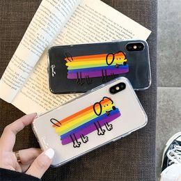 Caso di arcobaleno trasparente di iphone online-Custodie per telefoni arcobaleno cane TPU trasparenti trasparenti per Iphone XS MAX XR 8 7 6 Plus