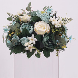 sfondo stradale Sconti Nuovo DIY Wedding Table Centrotavola Fiore artificiale Palla Sfondo Wedding Decor Strada Lead Wall Hotel Shop Partito di fiori di seta Bouquet