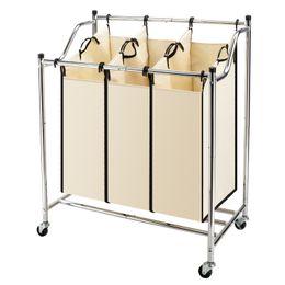 2019 ropa dificulta Carrito clasificador de lavandería de 3 bolsas Ruedas Cesto de ropa móvil para servicio pesado Canasta de ropa sucia con bolsas extraíbles Cromo rebajas ropa dificulta