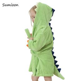 2020 strand-pyjamas Nette Baby Bademäntel für Mädchen Pyjamas Kinderdinosaurier mit Kapuze Badetuch Jungen Bademantel Pyjamas Baby-Nachtwäsche Kinder Kleidung T191016 günstig strand-pyjamas