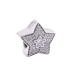 Ювелирные изделия из серебра онлайн-Christmas gift 925 Sterling Silver  Fits European DIY Charms Bracelet Stars European Charm Women Jewelry Findings