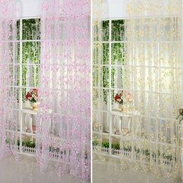 stringa di paglia all'ingrosso Sconti Voile Tende per finestra Burnout Sciarpa floreale in tulle Tende trasparenti Pannello Tenda a mantovana Tende Tende per camera da letto