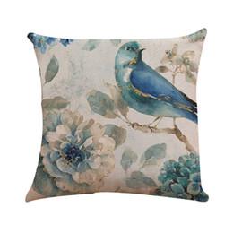 Dakimakura couvre en Ligne-Taies d'oreiller Couverture Set Fleur D'oiseau Imprimé Lin Lin De Style Européen Dakimakura Taie D'oreiller Taie d'oreiller Mixte 45x45cm Pour La Maison 40AP30 Taie D'oreiller