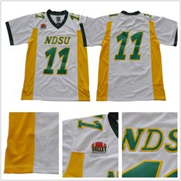 Camisas de futebol americano amarelo on-line-Mens NCAA NDSU Bison # 11 Carson Wentz Colégio Bison North Dakota State Futebol Americano camisa amarela verde branco Shirts baratos