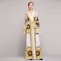 ab86a775a527 High Quality 2019 Spring Vintage Print V-Neck Long Sleeve Loosen Plus Size  Dresses Luxury Designer Runway Women Maxi Dress XXXL