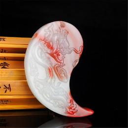 goldhuhnanhänger Rabatt Ein paar natürliche Huhn Blut Stein Drache Phoenix Anhänger Gold Seidenblüte Extrem Glück Anhänger Halsketten Tropfen