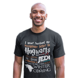 2020 inverno camisa vindo t Game T Shirt Never Received My Hogwarts Letter And Winter Is Coming Short T-Shirts Tees Hot Plus Size desconto inverno camisa vindo t