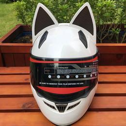 Amarillo lindo con orejas de gato Motocicleta casco automóvil carrera antemano cara completa casco personalidad diseño capacete moto casco desde fabricantes