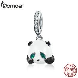 Plata de Ley 925 Panda Chino Encantador Lindo Animal Blanco Esmalte Encantos Fit Mujeres Pulseras Brazaletes DIY Haciendo Aniversario Regalo de Cumpleaños desde fabricantes
