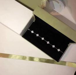 2019 hoja de plata de ley 925 Diseñador Vintage Alhambra Joyería Pulsera 925 material de plata esterlina con diamantes completos de cuatro hojas pulsera trébol pulsera de la boda de las mujeres hoja de plata de ley 925 baratos