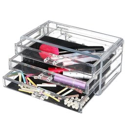 Rivestimenti del cassetto online-JEYL Acrilico chiaro cosmetico Make Up Caso rossetto Liner Brush Holder Organizer Drawer