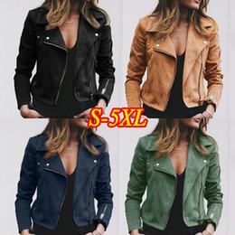 Добавить куртки онлайн-Женская Мото замша искусственной кожи Авиатор куртка черный короткие овчины бомбардировщик женский пальто добавить пожать плечами плюс размер 5XL байкер куртки