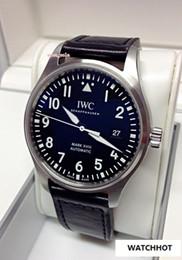 Melhor safira azul on-line-Melhor Mens de luxo AAA relógios IW327004 IW327001 azul / preto Dial Miyota 8215 Mens automático Watch Leather Strap relógios de vidro de safira Waterpr