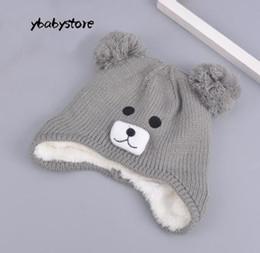 6e245f0a34b Winter children Woolen hat Cartoon Bear Double ball knitted cap Red Black Gray  Beige Brown Plus Velvet warm Sleeve cap 2pcs lot. Supplier  ybabystore