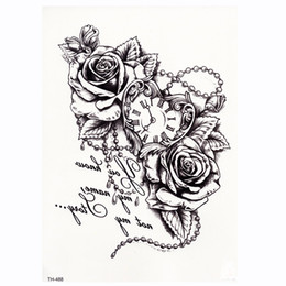 Calcomanías sexy tatoo online-Rose Clock Body Art A Prueba de agua Temporal Tatoo Sexy Muslo Brazo Tatuajes Rose para mujer Flash Tattoo Stickers