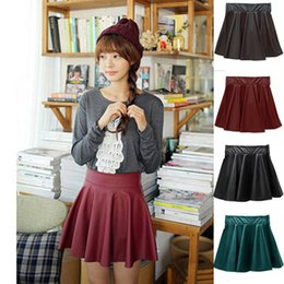 2020 pannello esterno skater da ardere in pelle Thefound Fashion 2019 New Women Faux Leather Vintage Skirts Elastic High Waist Skater Flared Pleated Stretch Mini Skirt pannello esterno skater da ardere in pelle economici