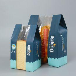 fast-food-pakete Rabatt Brot Kraftpapier Stücke Vermeiden Sie Öl Verpackung Toast Mit Klaren Fenster Backen Zum Mitnehmen Paket Kuchen Beutel Nehmen Sie Snack