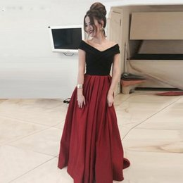 Vestido de lycra preto on-line-Preto E Vermelho Vestidos de Baile V Neck Cap Manga A Linha Evening Vestidos Estilo Simples Até O Chão Cocktail Party Dress Barato 2019