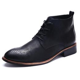 Трендовая обувь британская онлайн-Мужская обувь класса люкс, британские высокие кожаные ботинки Trend, ретро-бизнес повседневная обувь, мужские ботинки Bullock