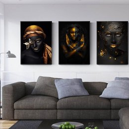 women room paintings Promo Codes - Figure Picture Modern Black-Skinned Women Pictures Gold Wall Art Canvas Painting Posters Living Room Decor Cuadros No Frame