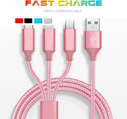iphone multi cable Coupons - High Quality Multi Fast Charging Cable 1.2m 3in1 Nylon Braided Multiple USB Charging Port Type-C Compatible IPX 8 7Plus Samsung Retail Box