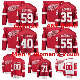 Kronwall hóquei camisas on-line-Camisolas de Detroit Red Wings Dylan Larkin Jersey Henrik Zetterberg Niklas Kronwall Camisolas de Hóquei no Gelo Red White Jimmy Howard Custom Stitced