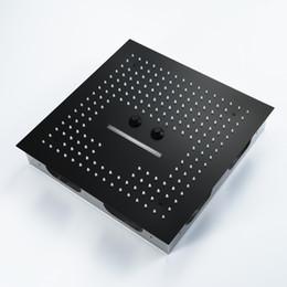 16 дюймов пульт дистанционного управления свет черный насадка для душа ливень ванная комната красочные LED насадка для душа Туманный водопад душ потолок от
