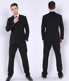 2019 casacos de casamento para homens Novo Design de Moda Dupla Breasted Da Marinha dos homens de Negócios Profissionais Ternos de Duas Peças Ternos Dos Homens Do Casamento Do Noivo (Blazer + Calça) casacos de casamento para homens barato
