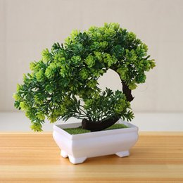 gardening potting table Promo Codes - Fake Plastic Home Decor Potted Artificial Table Plant Bonsai Tree Pot Garden Flowers Ornaments Simulation Hotel Small