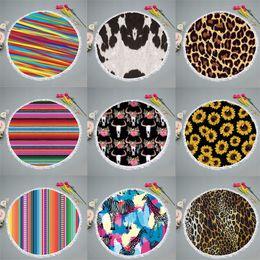Patrón de círculos online-Patrón de rayas de color Jirafa Toalla de playa Girasol Manta Estampado leopardo Estera de yoga Alfombra de círculo Fibra superfina 23 5yd C1