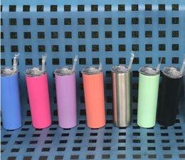 20 oz Flaco vaso de acero inoxidable vaso recto botella de agua de doble pared taza de café aislada termo de frasco oro rosa con pajitas desde fabricantes