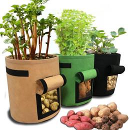 éléphants en céramique en gros Promotion Potato Grow Bag DIY Vecro Fenêtre Légumes Grow Bag Double Couche Premium Respirant Non Tissé Tissu Conteneur De Pommes De Terre Tomate Planteur Sac