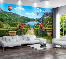 2019 impresión de la gran muralla Venta al por mayor de papel tapiz 3d Jardín Greenway Road Huamen Great Lakes 3D Mural Impresión digital HD Papel de pared decorativo Papel tapiz hermoso impresión de la gran muralla baratos