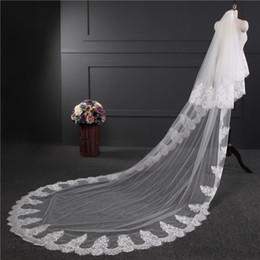 tail veil Promo Codes - Pure ivoryLace Appliques Top Grass 3*1.5M Long Tail One-Layer Lace Edge Long Train Beautiful Bridal Veil For Wedding Dress